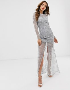 Frock & Frill long sleeve high embellished maxi dress-Gray