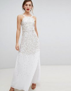 Frock & Frill Scatter Sequin Maxi Dress-Cream