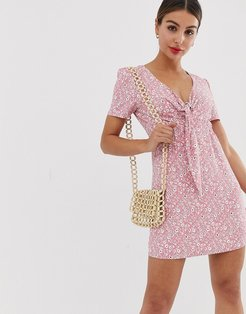 mini dress with tie front in ditsy floral print-Pink