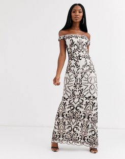 bandeau maxi dress with baroque detail in black and cream