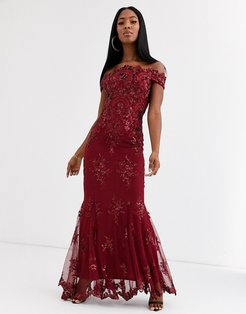 bardot maxi dress with baroque embellishment in wine red