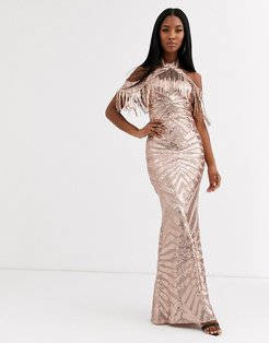 cold shoulder maxi dress with tassel detail in gold sequin