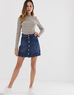 Sara button through denim skirt-Blue