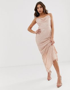 allover embellished sequin maxi dress in pink