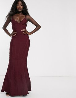 fishtail maxi bandage dress in berry-Red