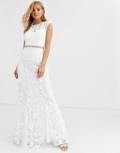 lace with embellished maxi dress in ivory-White