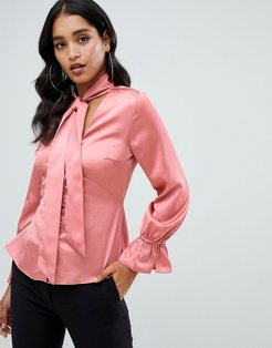 rouleau button satin pussybow blouse in pink