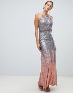 high neck allover ombre sequin maxi dress in rose multi