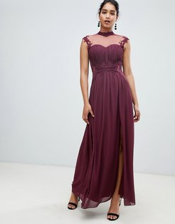 high neck chiffon maxi dress with lace back and delicate floral applique detail-Purple