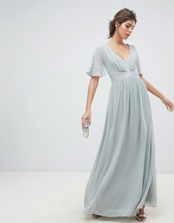 waterlily chiffon angel sleeve maxi dress-Gray