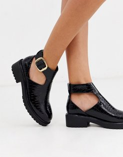 cut out flat chunky ankle boots in black croc