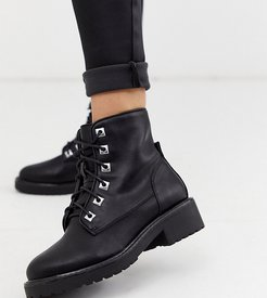 wide fit chunky flat hiker boots-Black