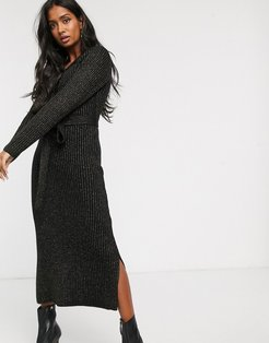 knitted maxi dress with button front in glitter rib-Black