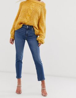 comfort stretch straight leg jeans in blue