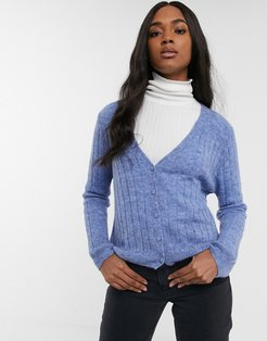 ribbed button through cardigan in blue-Purple
