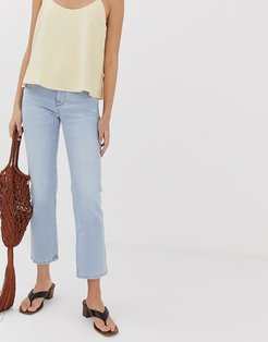 straight leg jeans in light blue