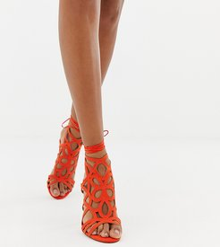 caged heeled sandals in coral-Black