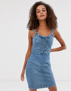 bodycon dress with lace up in denim-Blue