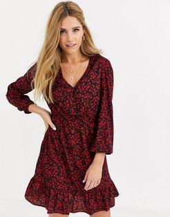 button detail mini dress in red ditsy floral