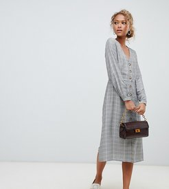 Button Through Check Midi Dress-Gray