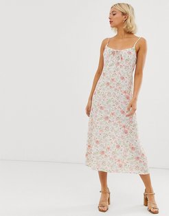 gather front strappy midi dress in white floral print