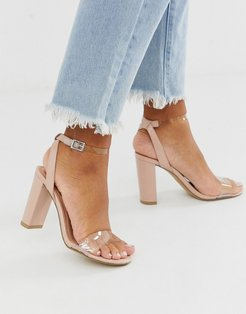 heeled sandals with clear detail in beige-Tan