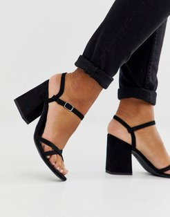 low block barely there sandal in black PU