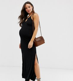 plisse maxi dress in black