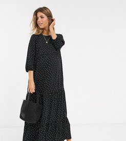 smock maxi polka dot dress in black