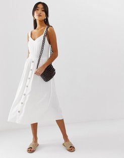 midi dress with button front in white