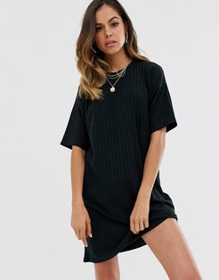 ribbed mini t shirt dress in black