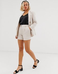 tailored shorts in stone two-piece