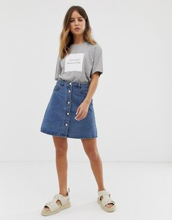 button front denim skirt-Blue