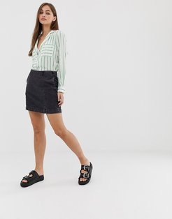 mini denim skirt-Black