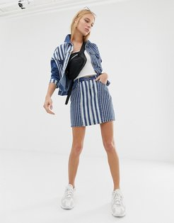 stripe denim skirt-Blue