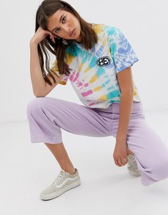 relaxed t-shirt with chest and back logo in rainbow tie dye-White