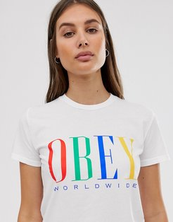 relaxed t-shirt with front logo in rainbow-White