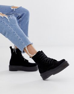 Atomize black suede flat ankle boot