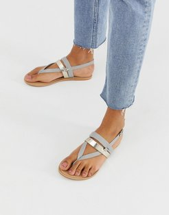 salute leather flat sandals-Gray