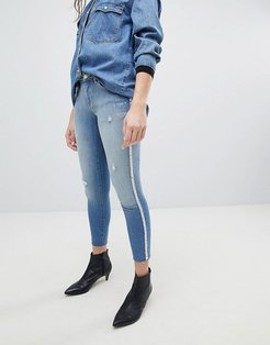 Skinny Jean With Pearl Embellishment-Blue