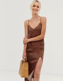 & Other Stories dot print midi slip dress in rust-Brown