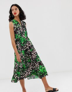 & Other Stories sleeveless midi smock dress in floral print-Multi