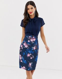 capped sleeve printed midi pencil dress with pussy bow detail-Navy