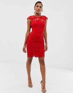 midi lace dress with scalloped back in red