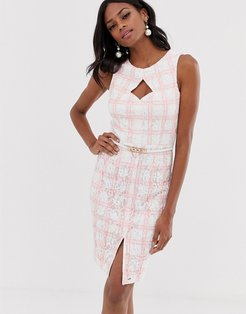 midi pencil dress with belt in pink check