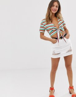 denim mini skirt with rips-White