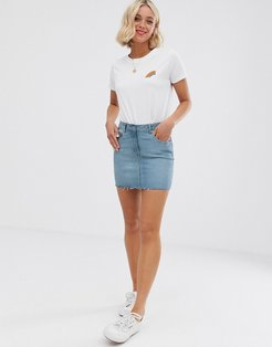 denim mini skirt-Blue