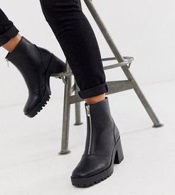 Exclusive Janella black chunky square toe zip front boots