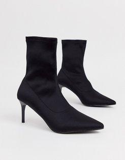 Lillian black pull on pointed sock boots