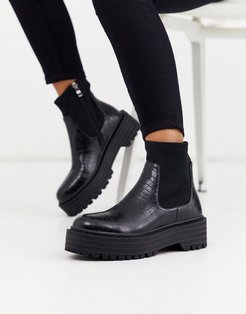Robin sock boots with chunky flatform in black croc